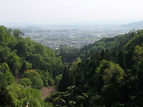上野市街を見下ろす